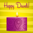 Bright pink and yellow Diwali card in vector format. — Stock Vector