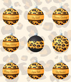 Leopard inspired Christmas baubles in vector format — Stock Vector