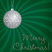 Silver mirror ball Merry Christmas card in vector format — Stockvektor