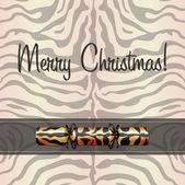 Tarjeta de navidad inspirado cebra en formato vectorial — Vector de stock