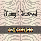 Zebra inspired Christmas card in vector format — 图库矢量图片