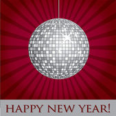 Silver mirror ball Happy New Year card in vector format — Stock Vector