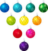 A vector illustration of different coloured patterned Christmas baubles on a white background — Stock Vector