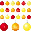 A vector illustration of orange and yellow different patterned Christmas baubles on a white background - 图库矢量图片