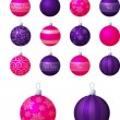 Royalty-Free Stock Vector Image: A vector illustration of pink and purple different patterned Christmas baubles on a white background