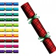 Plaid Tartan Christmas crackers in a variety of colours on a white background in vector format - Stock Vector