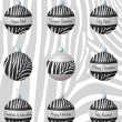 Zebra inspired Christmas baubles in vector format. — 图库矢量图片