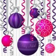Royalty-Free Stock Vector Image: Ribbon and bauble inspired Merry Christmas card in vector format.