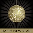 Disco ball fun happy new year card — Stock Vector