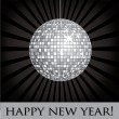 Stock Vector: Disco ball fun happy new year card