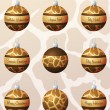 Giraffe inspired Christmas baubles - Stock Vector