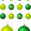 Stock Vector: A vector illustration of lime and green different patterned Christmas baubles on a white background.