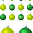 A vector illustration of lime and green different patterned Christmas baubles on a white background. — Stock Vector