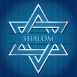 Shalom blue star of David card in vector format — Stock Vector