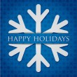 Stock Vector: Silver snowflake Happy Holidays card in vector format.