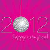 Disco ball Happy New Year Card in vector format — Stock Vector