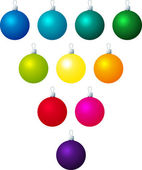 A vector illustration of different coloured Christmas baubles on a white background — Stock Vector