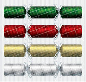Plaid Tartan Christmas crackers in a variety of colours on a white background in vector format — Stock Vector
