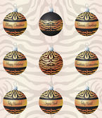 Tiger inspired Christmas baubles in vector format — Stock vektor
