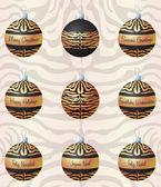 Tigre inspirado adornos de navidad en formato vectorial — Vector de stock