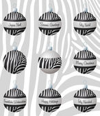 Zebra inspired Christmas baubles in vector format. — ストックベクタ