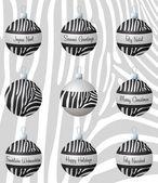 Zebra inspirerad julgranskulor i vektorformat. — Stockvektor
