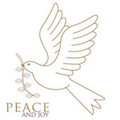 The Dove of peace in flight in gold with a brown olive twig in its beak drawn for our personal Christmas cards — Stock Vector