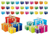 A vector illustration of different coloured festive gifts with silver and gold bows — Cтоковый вектор
