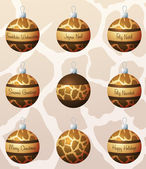 Giraffe inspired Christmas baubles — Cтоковый вектор
