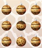 Giraffe geïnspireerd kerstballen — Stockvector