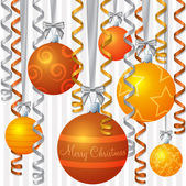 Ribbon and bauble inspired Christmas card in vector format — Stock Vector