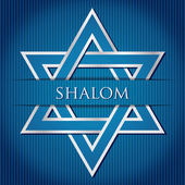 Shalom blue star of David card in vector format — Stock Vector