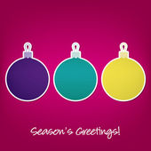 Seasons Greetings sticker bauble card in vector format — Stock Vector