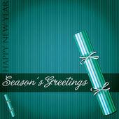 Seasons Greetings pin stripe cracker card in vector format. — Stock Vector