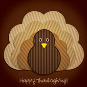 Happy Thanksgiving cute material turkey card in vector format — Vecteur