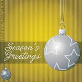 Seasons Greetings star bauble card in vector format. — Stock Vector