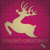 Gold reindeer Seasons Greetings card in vector format — Stock Vector