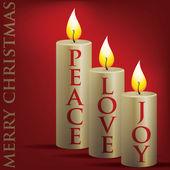 Frohe weihnachten-frieden, liebe, freude-kerze-karte im vektorformat. — Stockvektor