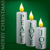 Wesoły boże narodzenie pokoju, miłości, radości świeca karty w formacie wektorowym. — Wektor stockowy