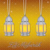 "Silver lantern ""Eid Mubarak"" (Blessed Eid) card in vector format — Stock Vector"