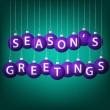 Seasons Greetings hanging bauble card in vector format. — Grafika wektorowa