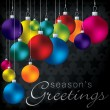 Bright group of baubles card in vector format. — Stockvectorbeeld