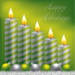 Happy Holidays candle, bauble and tinsel card in vector format — Vettoriali Stock