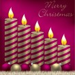 Merry Christmas candle, bauble and tinsel card in vector format — Vettoriali Stock
