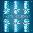 Happy Holidays spotty cracker card in vector format — Vettoriali Stock