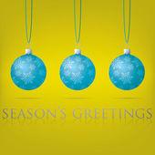 Bright Seasons Greetings bauble card in vector format — Stock Vector