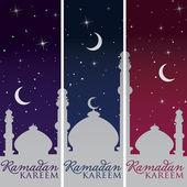 "Silver Mosque and moon ""Ramadan Kareem"" (Generous Ramadan) banners in vector format — Stock Vector"