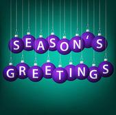 Julhälsningar hängande småsak kort i vektorformat. — Stockvektor