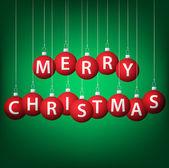 Feliz navidad tarjeta chuchería en formato vectorial colgante. — Vector de stock