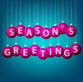 Seasons Greetings hanging bauble card in vector format. — Stock Vector